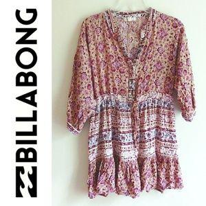 Billabong Boho Hippie Style Quarter Sleeve Top